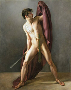 Warrior with Drawn Sword Nude Male Jean Eugene Charles Alberti CANVAS ART Print