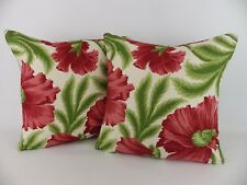 """GP & J Baker Sissinghurst Red Green Linen Fabric 2 16"""" Cushions & Feather Pads"""
