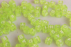 50pcs Mixed Alphabet/Letter Acrylic Cube Beads 6x6mm Choose Color