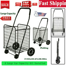 Folding Shopping Cart Trolley large Heavy Duty Black For Grocery/Laundry