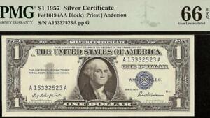 GEM 1957 $1 DOLLAR BILL SILVER CERTIFICATE BLUE SEAL NOTE MONEY PMG 66 EPQ