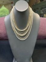 """1950S Gold Tone Multi 9 Strand Pearl Chain Necklace Hook Clasp 18"""" Japan"""