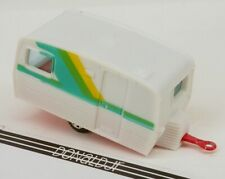 Yatming Caravan Camper Trailer White Plastic w/Red Base 1/64 Scale Diecast