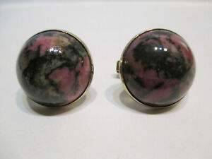 VINTAGE STERLING SILVER NATURAL STONE CABACHON CUFFLINKS
