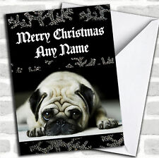 Sad Pug Black Christmas Customised Card