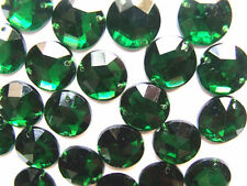 100 Green Faceted Beads Acrylic Rhinestones/Gems 10 mm Round Flat Back Sew On