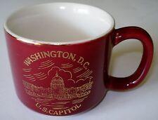 U.S. Capitol Small Coffee Mug Cup Burgundy Gold Leaf Design Washington D.C.