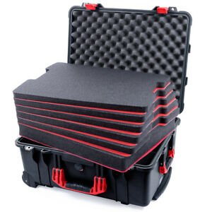 Black & Red Pelican 1560 case with customizable tool foam inserts.