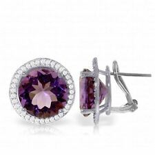 14K White Gold French Clips Earrings Diamond Amethyst (12.40 ct)
