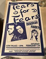 Tears For Fears/Deborah Harry 1990 Orig Tour Poster Cow Palace Concert Blondie