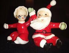 Lefton's Japan Vintage Santa and Mrs Claus Figurine Candle Climbers Ceramic