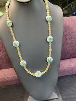 Ladies Vintage White Turquoise yellow Glass Moon Glow Long  Beaded Necklace