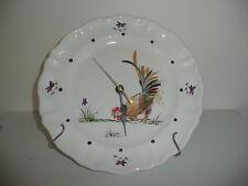 VIGROUX Damien France assiette horloge décor de coq émaillé, peint main , signé