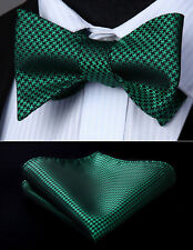 Green Houndstooth Flower Self Bow Tie Pocket Square Butterfly Silk Set#BG602GS