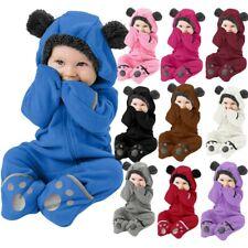 Infant Toddler Baby Girl Boy Cartoon Ears Hoodie Romper Clothes Fleece Jumpsuits