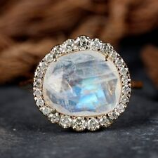 NEW 2.74 Ct. Moonstone Gemstone Cocktail Ring Diamond Pave Solid 14k Yellow Gold