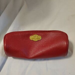 """Bare Minerals Makeup Bag Red Patent Faux Leather High Gloss With Gold Zipper 8"""""""