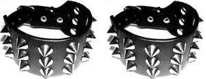 3 Rock Gothic 3 Row Conical Spikes Studded Leather Black Wristband Bracelet Cuff