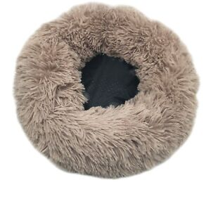 Bedding Plush Faux Fur Round Cuddler Calming Cat Pet Beds Soft Warmer 12 Inch