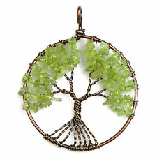 Natural Peridot Chip Beads Tree of Life Copper Round Pendant Fit Necklace DIY