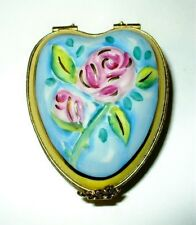 Limoges Box ~ Yellow & Blue Floral Heart ~ Flowers ~ 3D Roses ~ Anniversary