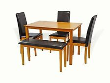 Dining Kitchen 5 Pcs SET Rectangular Table 3 Fallabella Chairs Bench, Maple