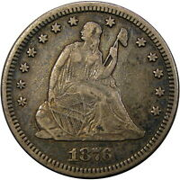"""1876/1876 25C PCGS VF35 MISPLACED DATE """"MPD FS-305"""" SEATED ~ RARE ONLY 5 GRADED!"""