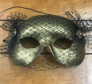Masquerade Half Face Mask Gold With Black Mesh-Decorative Buttons Made in Italy