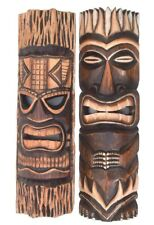 Masque mural TIKI Ensemble de deux 50cm muraux salon Hawaii en bois