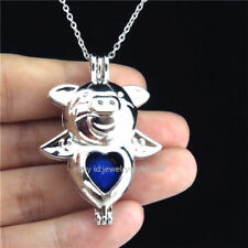 K333 Silver 42mm Animal Pig Beads Stone Cage Alloy Pendant Necklace Kids Party