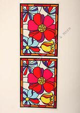 "24.4"" x 9"" Tropical Flowers Stained Glass Window Film Sticker Decal Peel & Stick"