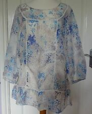 Marks and Spencer Floral Cotton Blend Scoop Neck Women's Tops & Shirts