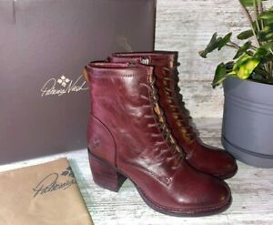 New ~ Patricia Nash Sicily Merlot Leather Lace Up Combat Boots Size 9 / 39  $249