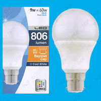 6x 9W LED Cool White Low Energy Pearl GLS Globe Light Bulb BC B22 Lamp