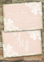 PERSONALISED RUSTIC BLUSH LACE WEDDING INVITATIONS PACKS OF 10