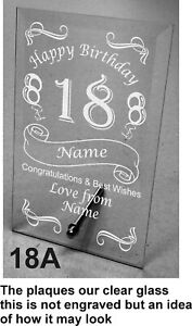 Plain / Engraved Personalised Glass Plaque 18th Birthday