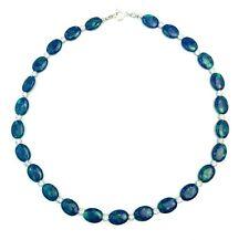 Blue Green Opal Rhinestone Bead Necklace Sterling Silver
