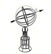 "Large Armillary Sundial on Base 19"" Diameter Wrought Iron"