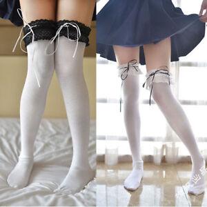Cute Women Girl Knit Lace Ribbon Lolita Stocking Thighhigh Cosplay Dance Sock