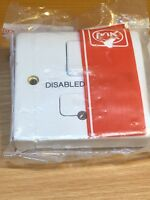 "MK - K330WHI  LOGIC PLUS 13A DP SWITCH FUSED SPUR ENGRAVED ""Disabled Alarm"" AB81"