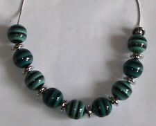 "Striped Ceramic Bead & Silver Disc Necklace Beauty Blue Length 18"" Mixed Metals"
