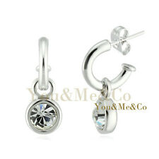 18k White Gold EP 3ct Brilliant Cut Crystal Stud & Dangle Earrings