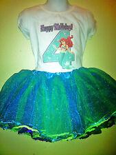 Little Mermaid birthday Dress 2 Pc Tutu Birthday  1T,2T,3T,4T,5T,6T.7T