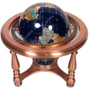 Small Blue Globe on Copper Quad Stand