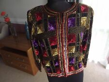 LADIES SEQUIN JACKET SIZE SMALL BY SUDI HEAVY WITH SEQUINS SPECTACULAR