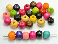 """200 Mixed Color 10mm (3/8"""") Round Wood Beads~Wooden Spacer Beads"""