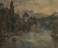 Antique European oil painting landscape mountain lake sailing boats