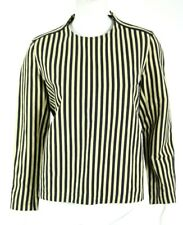 MARNI Beige & Midnight Blue Striped Linen Knit Back Long Sleeve Blouse 44