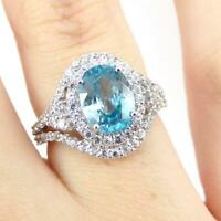 Blue White Topaz Halo Modernist 10K White Gold Ring Size 6 LHJ2