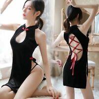 Velvet Lace Up Cheongsam Retro Bodycon Sexy Mini Dress Chinese Qipao Clubwear